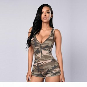 2018 Women Sexy V-Neck Sleeveless Jumpsuit Bodysuit casual Womens romper Camoflage Color Summer Shorts Beach Rompers