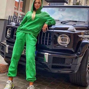 Ailigou Winter Women Plus Veet Warm Cotton Two-piece Jogging Hoodie Sweatshirt Trousers Leisure Sports Suit