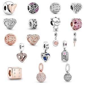 925 Sterling Silver luxury women's rose gold zircon jewelry tag windmill flower ball heart Pig Pendant fit Pandora Bracelet Necklace DIY