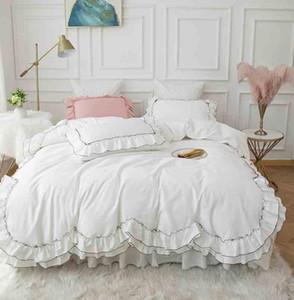 Weiß Korean Home Textile Bettwäsche 4pcs Hochzeit Bettset Solide doppelte Schicht-Rüsche Princess Bettbezug Bed Rock Cotton