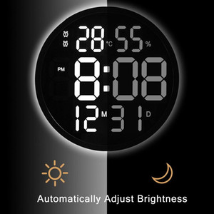 Digital Wall Clock LED Mirror Multifunctional Light Alarm Clock With Temperature Display Ring Shaped Home Decoration Gift