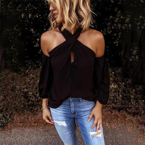 Casual sexy Long Sleeve Women T Shirts Fashion Solid color halter neck strapless T Shirt Female elegant Top party Tee Shirts
