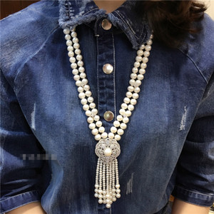 Hand knotted 2rows natural 7-8mm white freshwater pearl zircon accessories tassel pendant necklace fashion jewelry