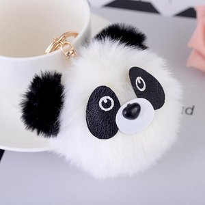 Cute Fluffy Faux Rabbit Fur Ball Panda Keychain Women Monster Bag Charm Llaveros Mujer Chaveiro Key Ring Holder Jewelry Gifts sqcjyT