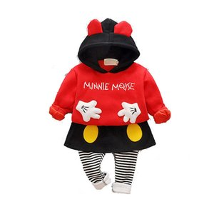 Clearance sale autumn winter baby suits cute hooded+skirt pants tights 2pcs set girls tracksuit baby outfits Infant Outfits Z273