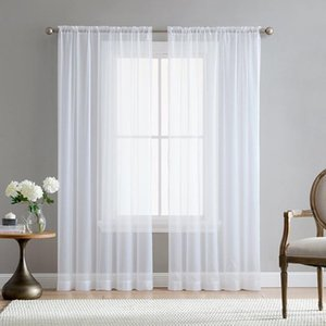 2Pcs Super Soft Great Hand Feeling White Tulle Curtains for Living Room Decoration Modern Veil Chiffon Solid Sheer Voile