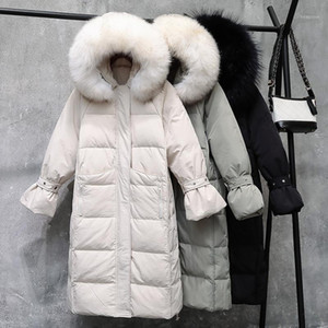 2020 New Winter Jacket Women Down Jacket White Duck Down Thick Warm Big Fur Collar Hooded Female Long Parka Coat M4041