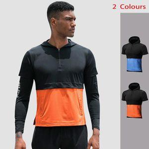 Lovmove manga larga compresión con cremallera suelta camisa con capucha con capucha falso dos ropas de secado rápido de la ropa deportiva masculina ropa atlética