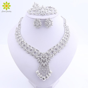 Crystal Bridal Jewelry Sets Silver Plated Wedding Necklace Earrings Bracelet Ring African Beads Jewelry Sets Accessories 201215