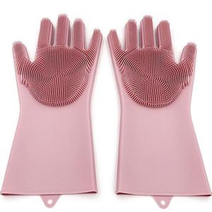 Luvas de silicone com escova reutilizável segurança silicone prato de lavagem luvas resistentes a calor luvas de cozinha ferramenta de limpeza hhaa614 28 n2