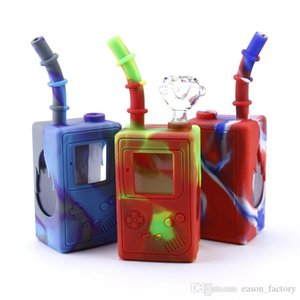 2020 glass water bongs childhood game machine 7.3 inches mini bongs with glass bowls unbreakable water bong silicone bong