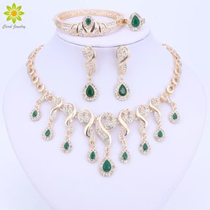 Gold Color Crystal African Beads Jewelry Sets For Women Dress Accessories Wedding Bridal Necklace Earrings Bracelet Ring Sets Q1123
