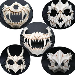 Halloween Half Animal Mask White Bone Mask Tengu Dragon Yaksa Tiger Resina Cosplay Dientes largos Demon Samurai Resin Cos1