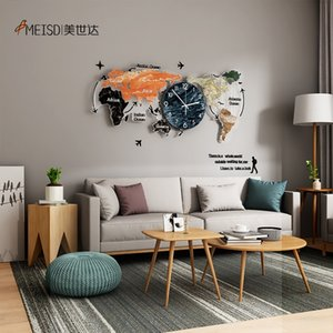Meisd Original World Map Watch Große dekorative Uhren Quarz Silent Wohnzimmer Wohnkultur Wand Horloge Heißer Verkauf Freies Verschiffen 201125