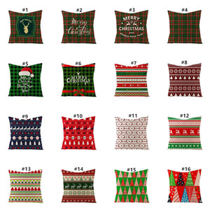45*45cm Pillow Case Christmas Decorations For Home Santa Clause Christmas Deer Cotton Linen Cushion Cover Home Decor YYB2937