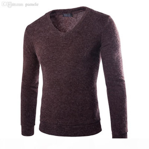 Wholesale-Trend V-neck thick Rabbit Plush California multi-color sweater men's bottoming M-2XL(Asian size)