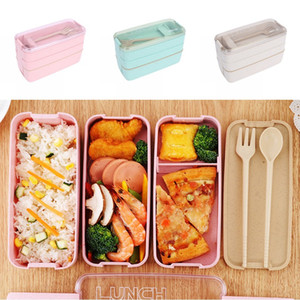 Wheat Straw Lunch Box Healthy Material Lunch Box 3 Layer Wheat Straw Bento Boxes Microwave Dinnerware Food Storage Container GWB3456