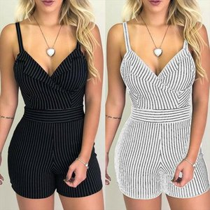 Sexy Women Boho Playsuit Jumpsuit Rompers Summer Beach Casual Mini Short Playsuit V neck Strap High Waist Striped Romper Trouser