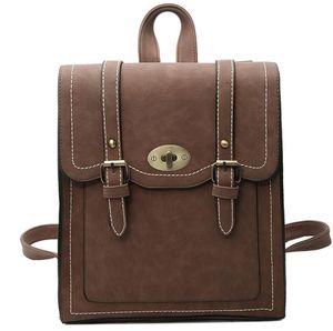 Vintage Women Backpack Large Capacity Sthdent School Bag Lady Travel Totes High Quality PU Handbag Crossbody Bag