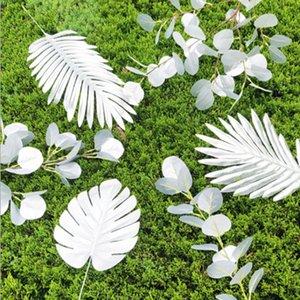Ins Gefälschte Silberblätter Bananenblatt künstliche Blumen Blätter tropischer Pflanze Büro Haus Hochzeitsgarten Home Büro Dekoration dhe3382