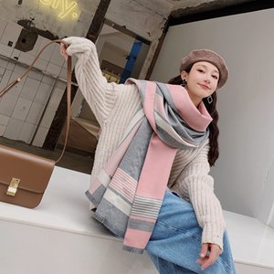 Shawl scarves dual female autumn and winter warm thick double-sided cashmere Korean wild spell color female big scarf