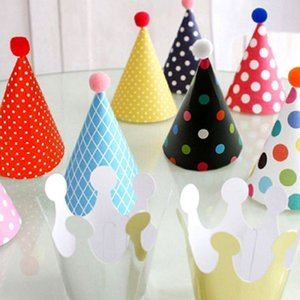 11PCS set Colorful Baby Birthday Hat DIY Paper Hats For Photograph&Kids Birthday Wedding Christmas Party Decor Supplies
