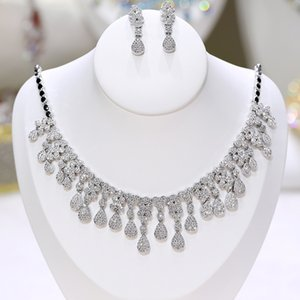 Micro-set tassel zirconia earrings and necklace set bridal jewelry set wedding accessories party dress jewelry X-0055 Z1201
