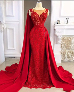 2021 Red Arabic Sleeveless Evening Dresses Mermaid Jewel Neck Illusion Lace Appliques Crystal Beads With Wraps Formal Prom Gowns Party Dress