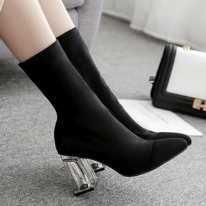 Women's shoes high heels stretch fabric sleeves square heel 8cm pointed toe tube thick women's boots