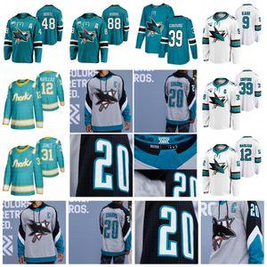 12 Patrick Marleau San Jose Sharks 2021 عكس الرجعية 30th Inniversary Jersey Logan Couture Evander Kane Brent Burns Martin Jones