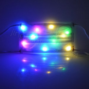 LED Yüz Maskesi Ağız Kapak Işık Maskesi Nonwoven Dans Maskeleri Gece Gösterisi Bar Noel Dekoratif Renkli Flaş Maskesi CYF4573-1