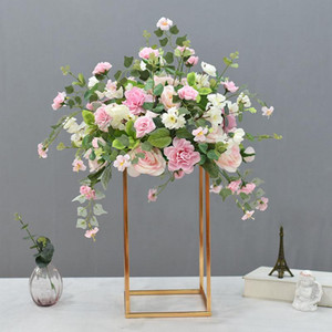 Electroplated Iron Geometry Stand Artificial Flower Wedding Centerpieces Table Floral Road Guide Backdrop Stage Decoration