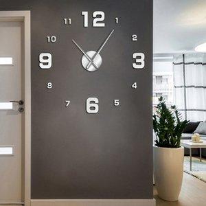 Número grande Frameless DIY Relógio de parede Mute Espelho Stickers Modern gigante relógio de parede não Ticking para Sala Quarto Cozinha 201118