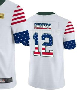 Man GREEN BAY 12 jersey Men Shirt Embroidered 100% and 2020 White USA Flag Limited American Football jerseys a0
