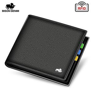 Bison Denim Véritable Cuir Hommes Portefeuilles Brand Luxe RFID Bifold Portefeuille Ziplan Coin Porte-monnaie Porte-pièce Portefeuille N4470 C1115
