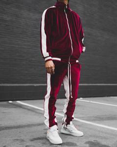 Velvet Mens Designer Tracksuits уличные спортивные стили модные панели на молнии пальто длинные брюки установить мужскую одежду