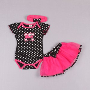 Clearance sale Kids Sets Girls Outfits Baby Headbands Fashion Printed Jumpsuit Rompers Tiered Skirts Infant Wear Children Set Z147