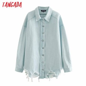 Tangada Women boyfriend denim jacket coats hole ripped autumn winter new female oversized long coat 4M212 201201