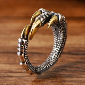 Genuine Solid 925 Silver Rings Vintage Dragon Claw Rings for Men Adjustable Sterling Silver Anello Uomo Jewelry