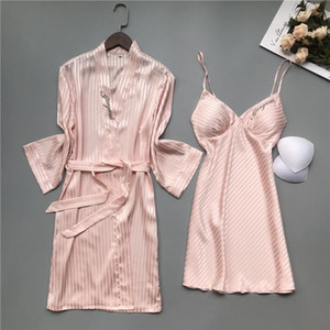 Bride Wedding Faux Silk 2PCS Kimono Bathrobe Robe Gown Sets Sexy Embroidery V-Neck Sleep Suit Spring Autumn New Women Sleepwear