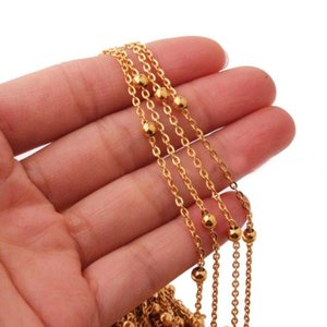 "Charming 316L Stainless Steel Gold Ball Beads Cross Link Chain Hot Sale 16""-40"" Mens Womens Unisexs Necklace Fashion Jewelry"