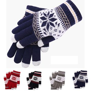 Luxury-Thicken Wool Mittens Soft Warm Knitted Touch Screen Outdoors Anti-slip Imitation Cashmere Couple Gloves Full Fingers