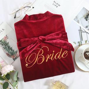 Novia boda impresión letra 2 unids bata vestido conjuntos de terciopelo sexy lady nightdress lencería albornoz otoño invierno nuevo salón homewear