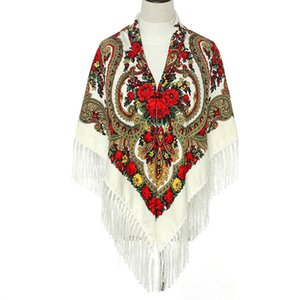 Luxury-135*135cm Women Russian Big Square Scarf Shawl Lady Retro Fringed National Scarves Winter Warm Foulard Hijab Wraps