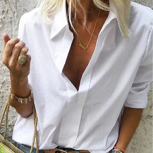 Womens Deep V neck Long Sleeve Shirt Tops Plus Size 3XL Solid Office Lady Loose Shirts Female 2020 Spring Casual Blouses Women