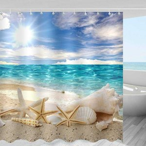 Home Decor Sunshine Seashell bathroom Shower for home Product Decoration Waterproof Sandy beach bath curtain