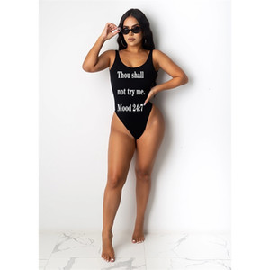 New swimsuit letter printing jumpsuit sexy women's dress