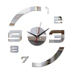 promotion acrylic mirror black silver quartz real living room wall clocks home decor 3d stickers diy clock beautiful art