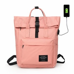 New Women External USB Charge Backpack Canvas Rucksack Male Large Capacity Girls Laptop Shoulder School Bags Backpacks