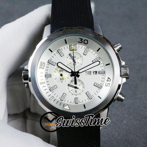 Sale New Day Date IW376801 Quartz Chronograph Mens Watch White Dial Stopwatch Steel Case Black Rubber Watches STIW SwissTime High Quality